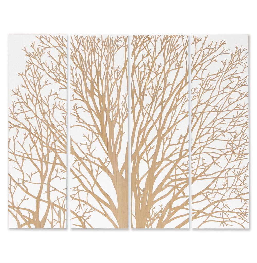 Palecek spring tree white carved wood wall mural art for Mural art on wood
