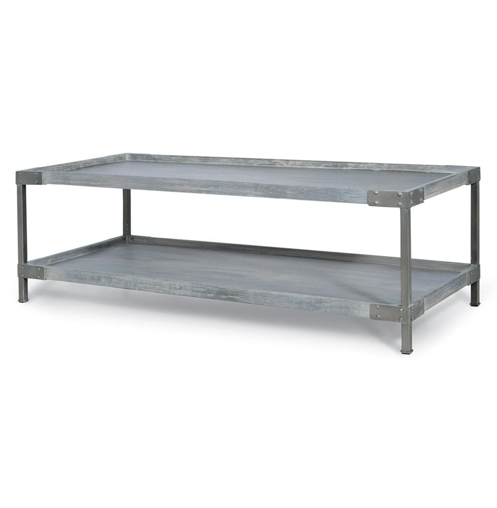 Palecek Brockton Industrial Loft Distressed Wood Coffee Table Kathy Kuo Home