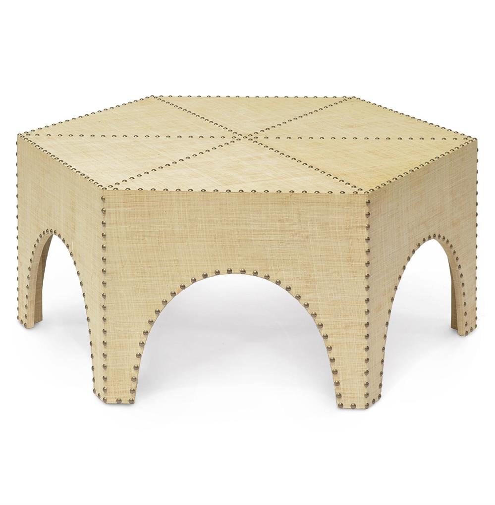 Palecek casablanca global bazaar raffia hexagonal coffee table for Raffia coffee table