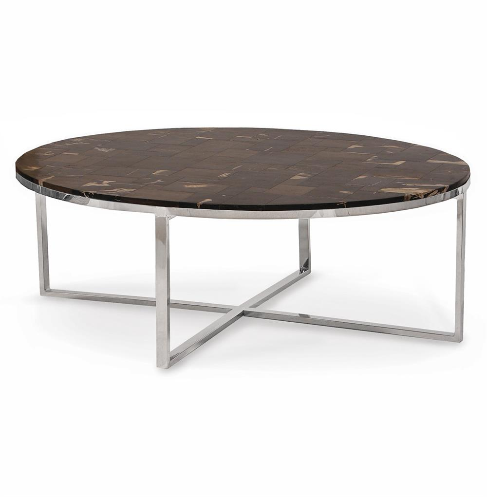 Palecek mosaic industrial loft petrified wood black oval coffee table kathy kuo home Wood oval coffee table