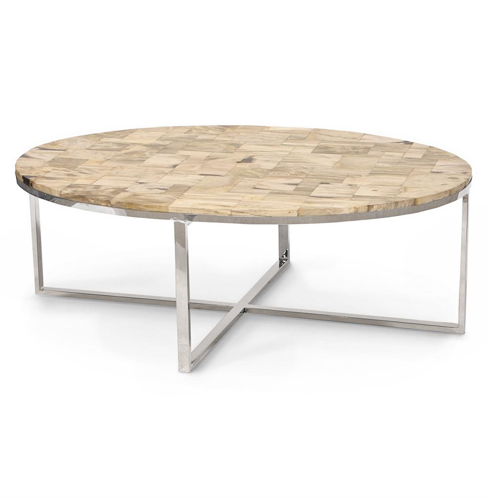 Palecek Mosaic Industrial Loft Petrified Wood Cream Oval Coffee Table Kathy Kuo Home