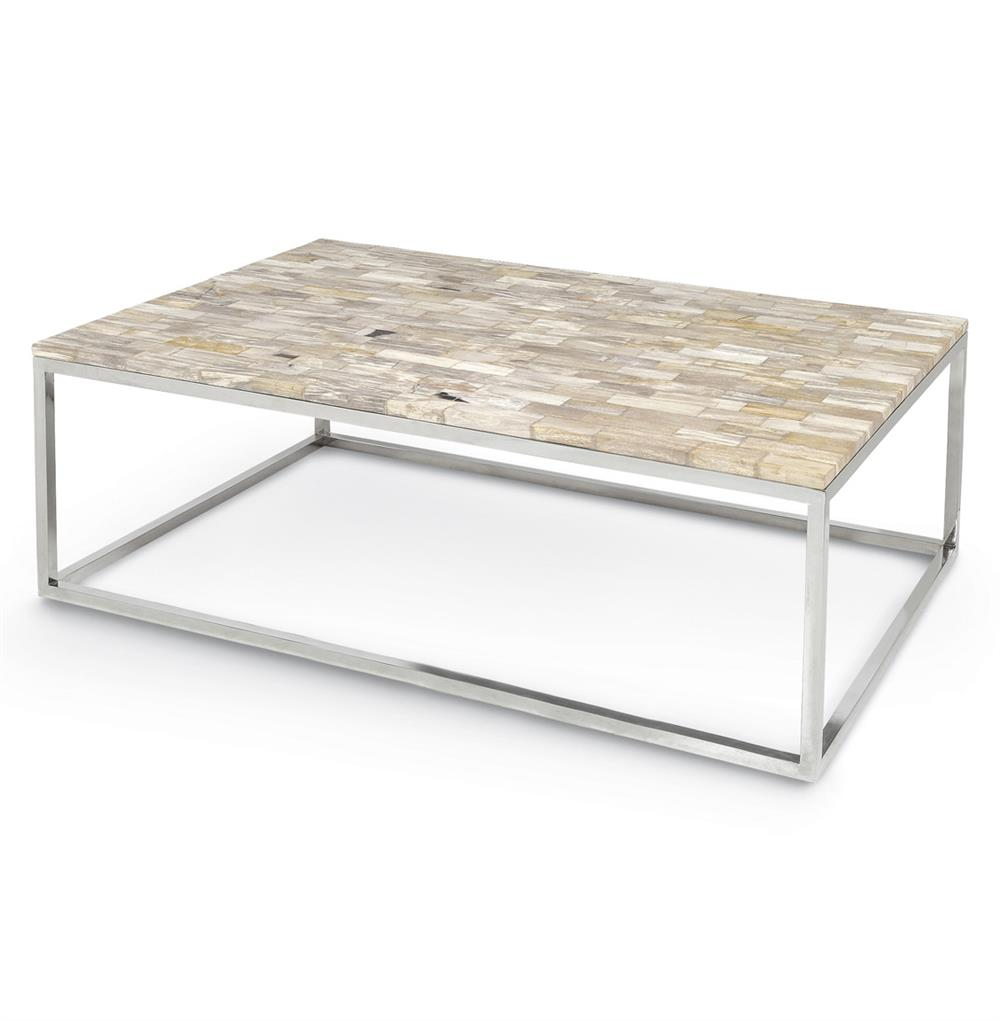 Deon Industrial Style Pattern Metal Rectangle Coffee Table: Palecek Mosaic Industrial Petrified Wood Rectangular