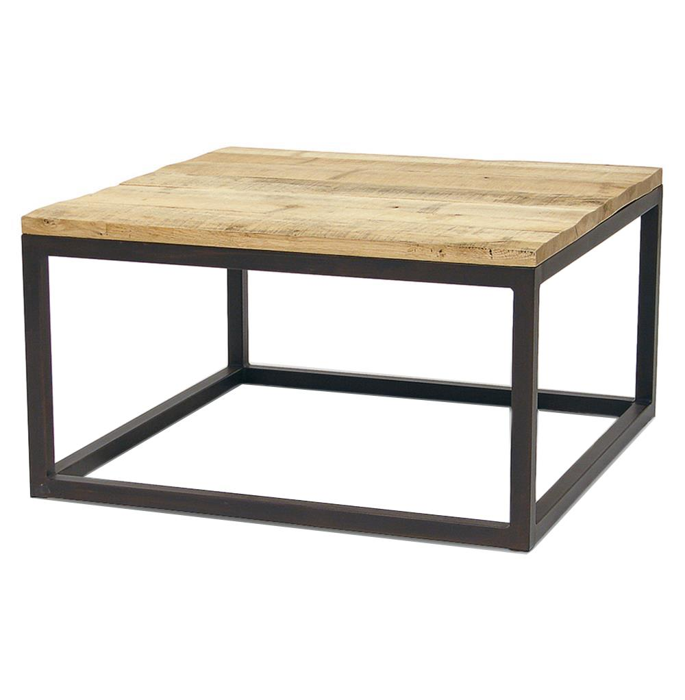 Soma industrial loft reclaimed wood and iron coffee table - Petite table basse carree ...