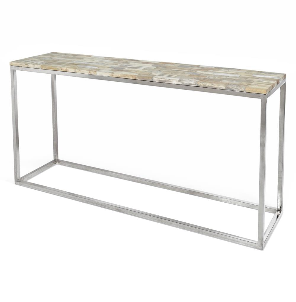Palecek Mosaic Industrial Loft Petrified Wood Cream Rectangular Console  Table | Kathy Kuo Home ...