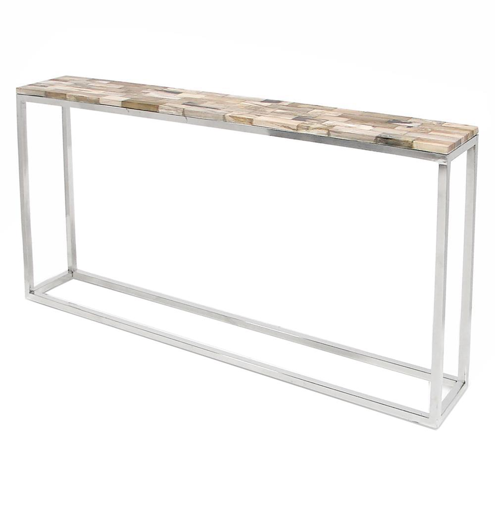 Good Palecek Mosaic Industrial Loft Petrified Wood Cream Slim Console Table |  Kathy Kuo Home