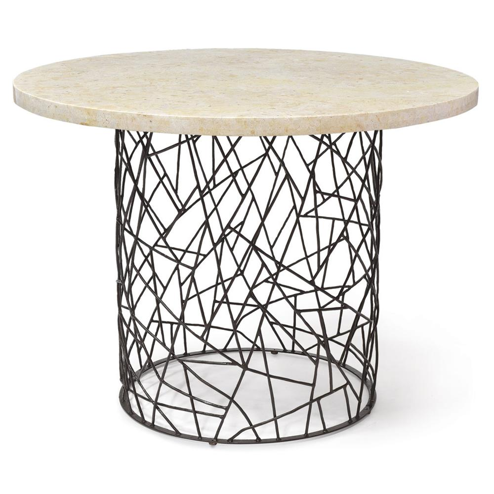Palecek Bleeker Industrial Pacific Mactan Stone Round Dining Bistro Table |  Kathy Kuo Home ...