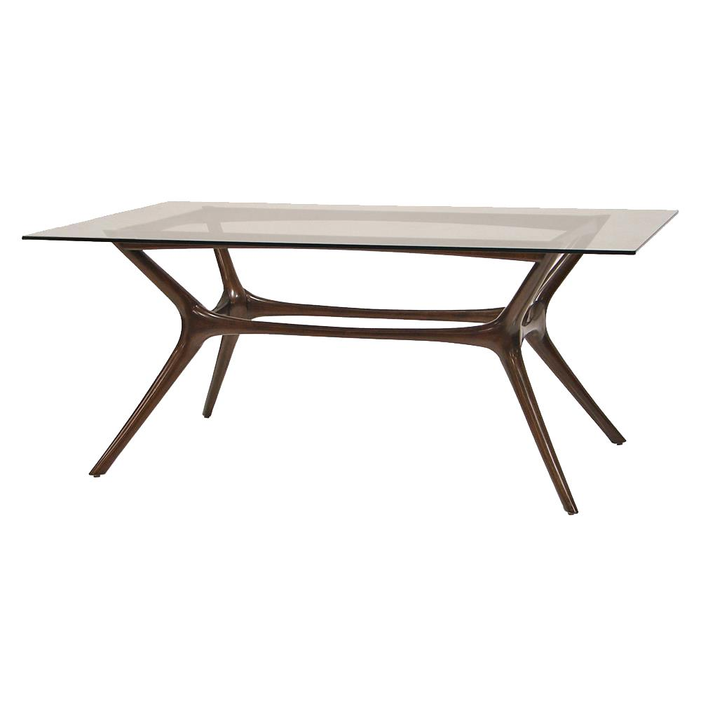 Palecek copenhagen mid century modern mahogany glass dining table kathy kuo home - Modern glass dining room tables ...