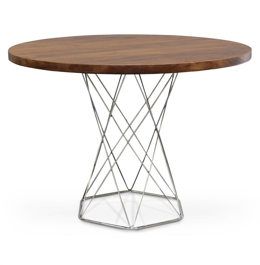 Palecek pedestal industrial modern solid wood round dining for Solid wood round tables dining