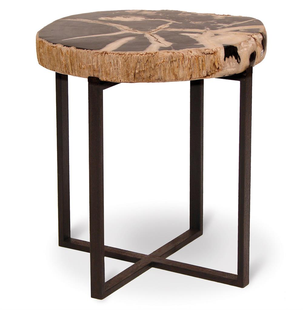 Noir petrified wood industrial loft round side table