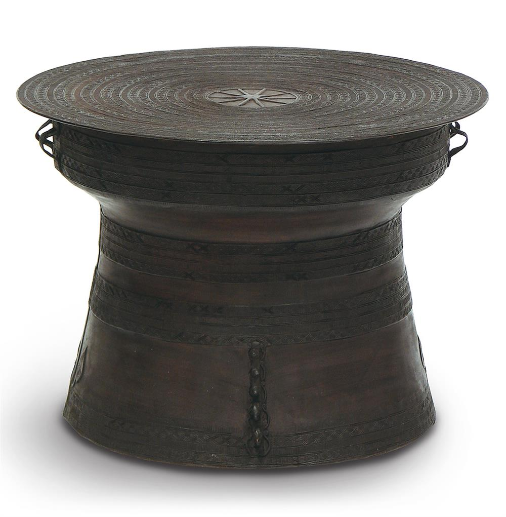 Palecek bronze rain global bazaar large bronze rain drum for Drum side table