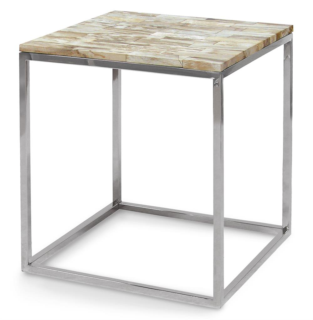 Sparrow industrial loft petrified wood square side table for Square side table