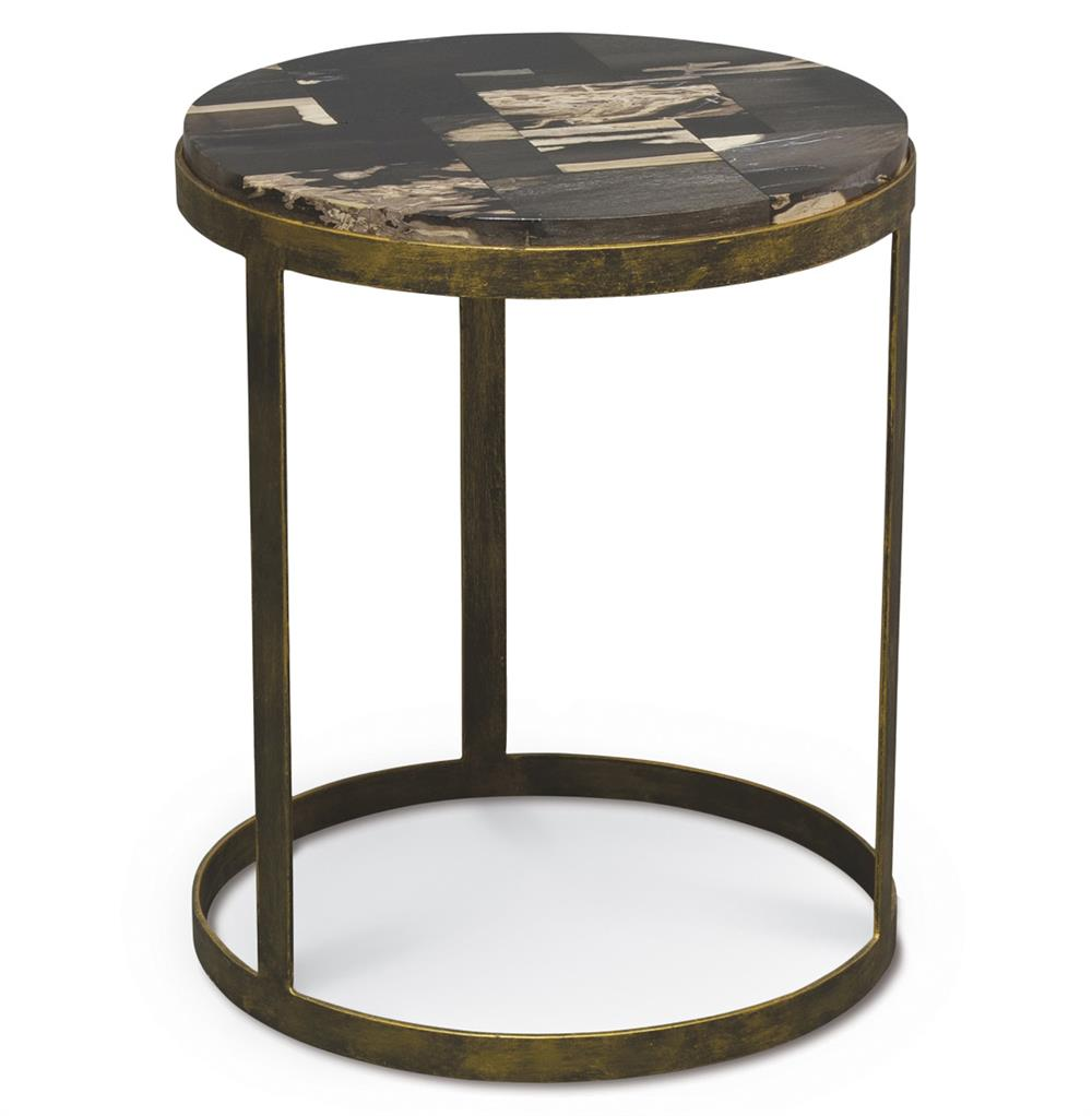 Keats petrified wood antique gold mosaic round side table for Round gold side table