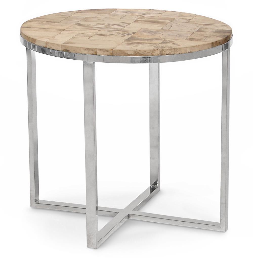 Lakota industrial loft petrified wood cream oval side for Oval side table