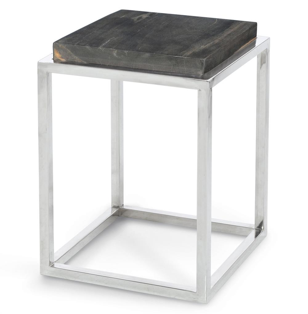 Stagedoor industrial loft petrified wood small square side for Small wooden side table