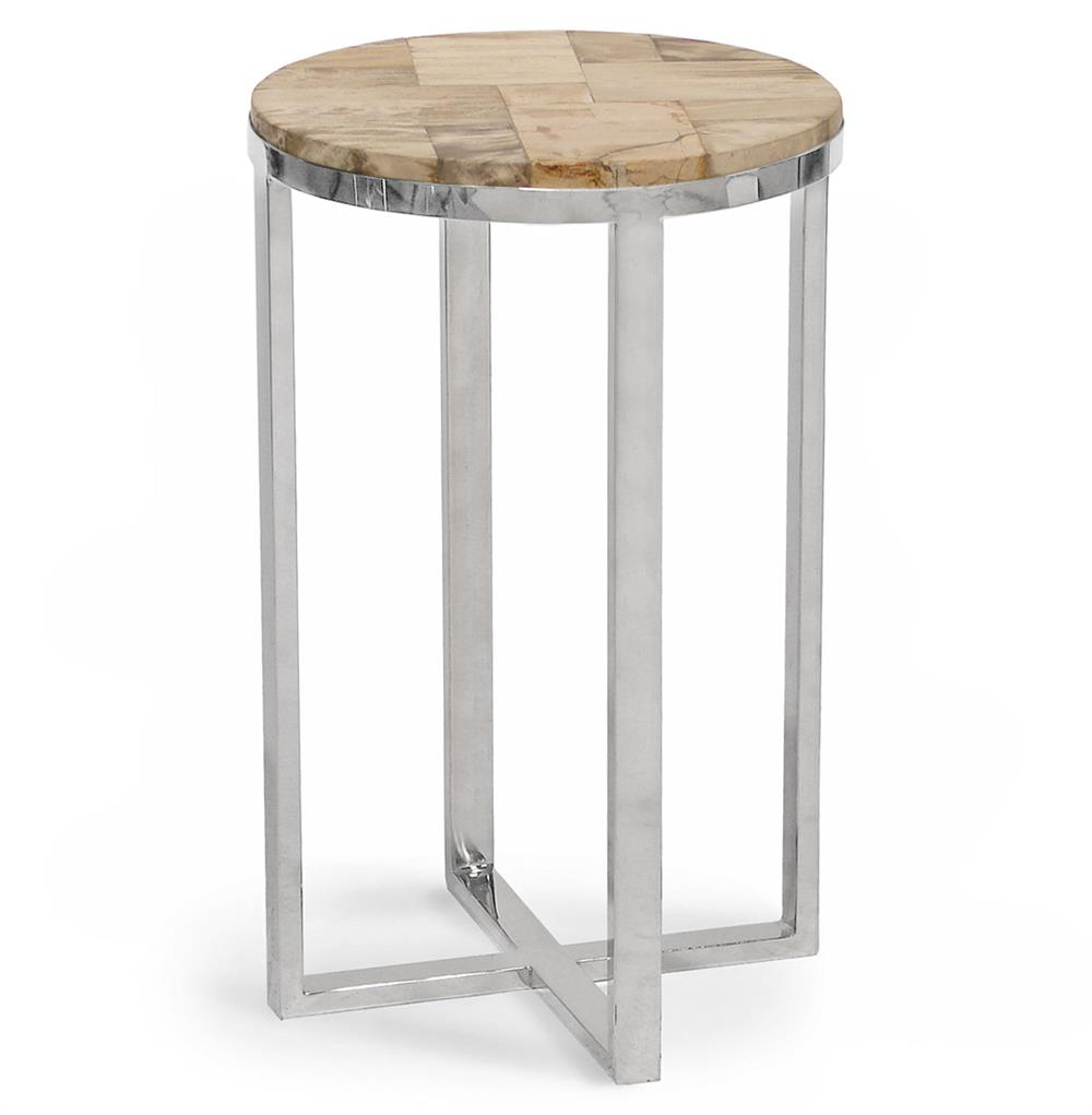 Palecek Petrified Wood Industrial Loft Petrified Wood Round Side Table |  Kathy Kuo Home