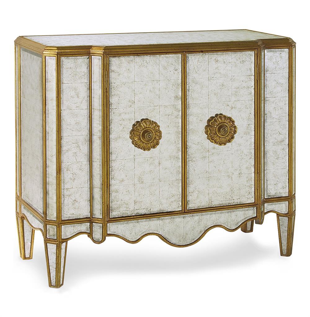 Courtney hollywood regency silver leaf mirrored gold bar for Sideboard gold
