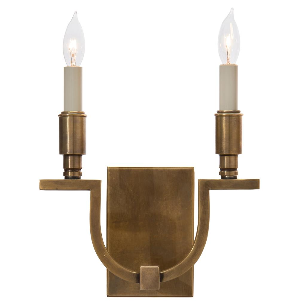 Old Brass Wall Sconces : Shirley Hollywood Regency Antique Brass Double Wall Sconce Kathy Kuo Home