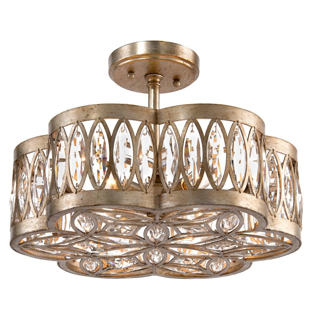 John Richard Lilliana Hollywood Antique Silver Crystal Mosaic Semi Flush Ceiling Mount Kathy