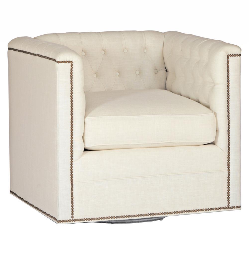 Thatcher Modern Classic Tufted Ivory Linen Swivel Arm Chair