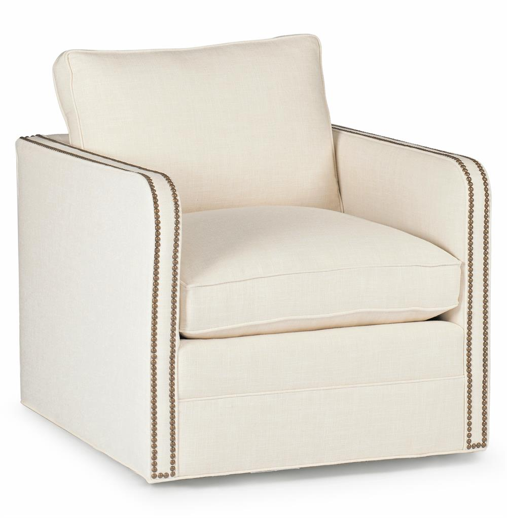Reeves Classic Ivory Linen Upholstered Swivel Arm Chair