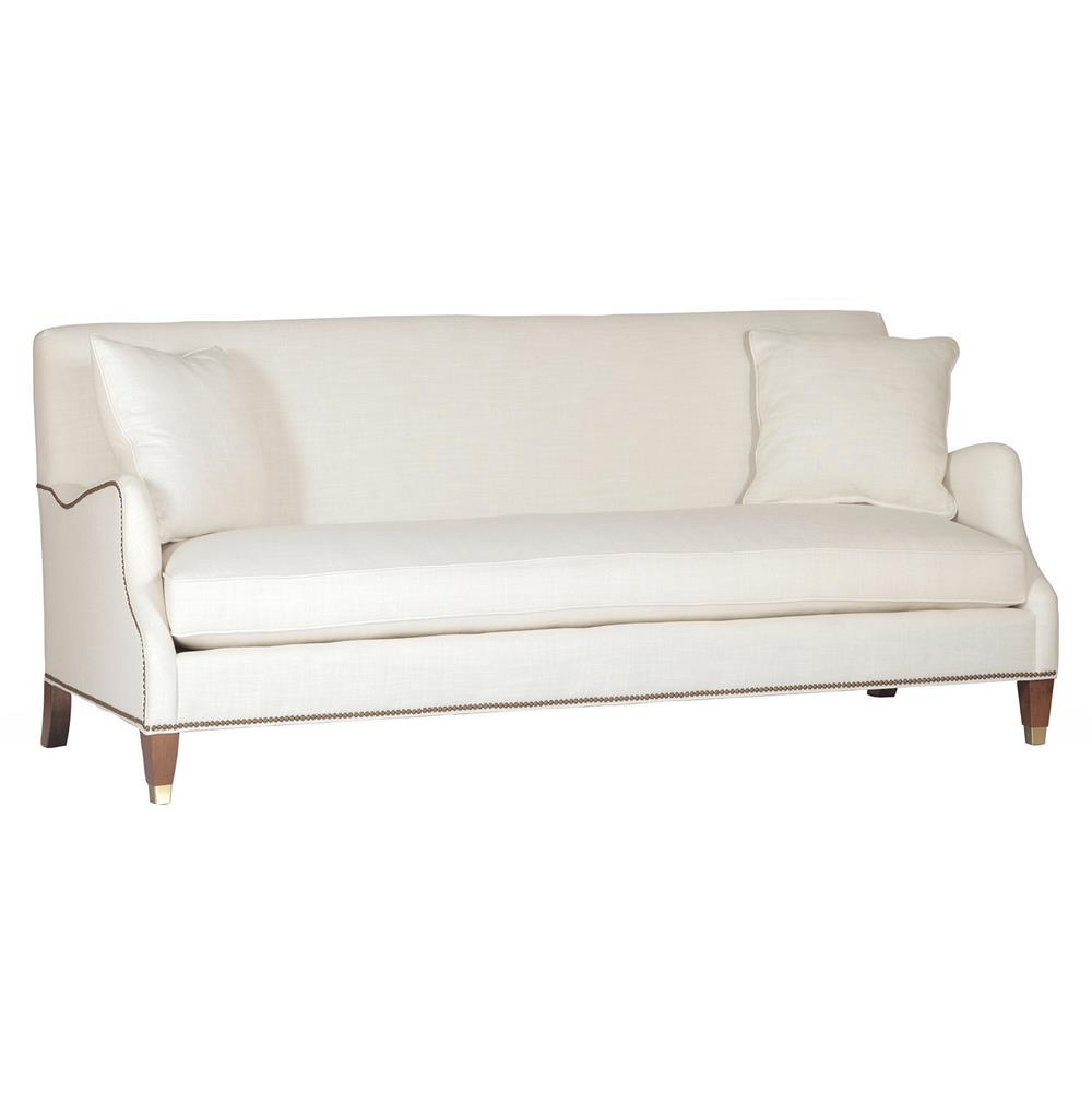 Lincoln English Saddle Brass Nailhead Classic Ivory Linen Sofa