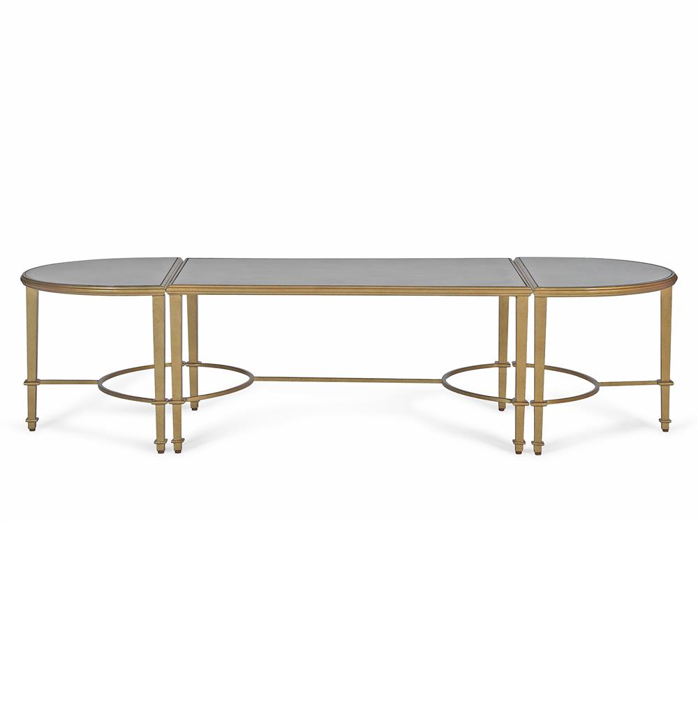 Milo Hollywood Regency Antique Mirror Gold Coffee Table Kathy Kuo Home