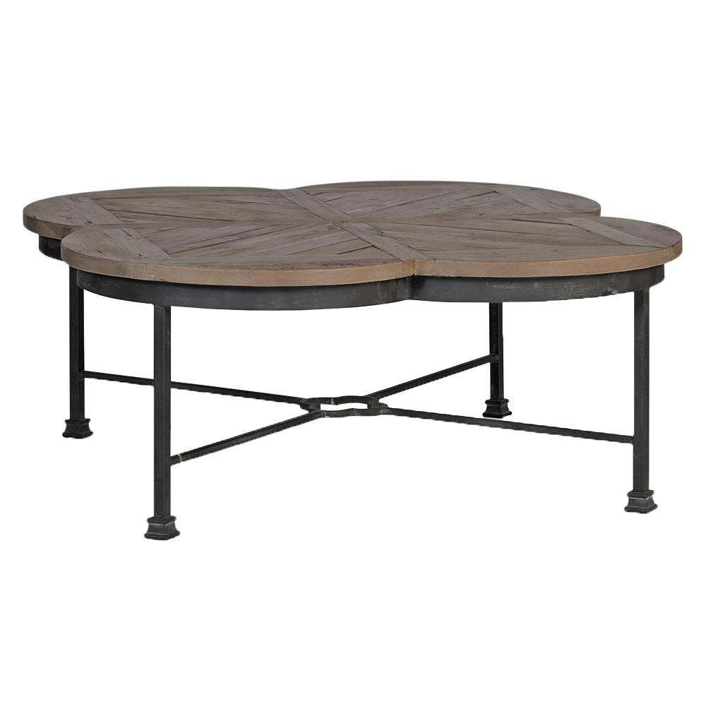 Edwin rustic quatrefoil reclaimed wood iron coffee table kathy kuo home Rustic wood and metal coffee table