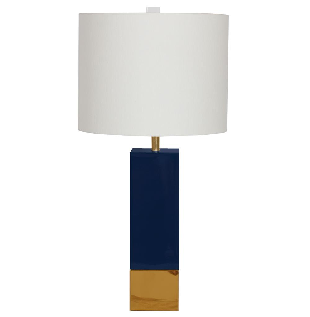 Titan Hollywood Regency Gold Navy Blue Square Table Lamp | Kathy Kuo Home