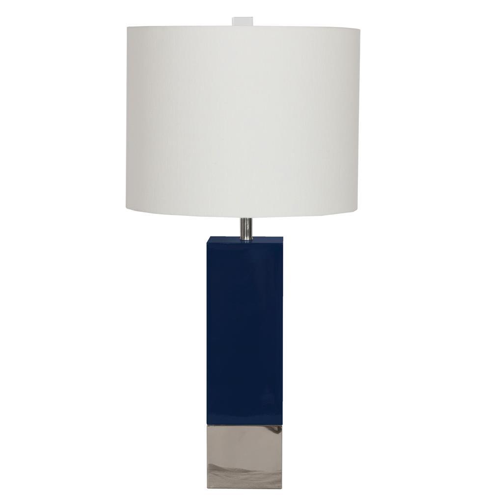 Titan Hollywood Regency Nickel Navy Blue Square Table Lamp