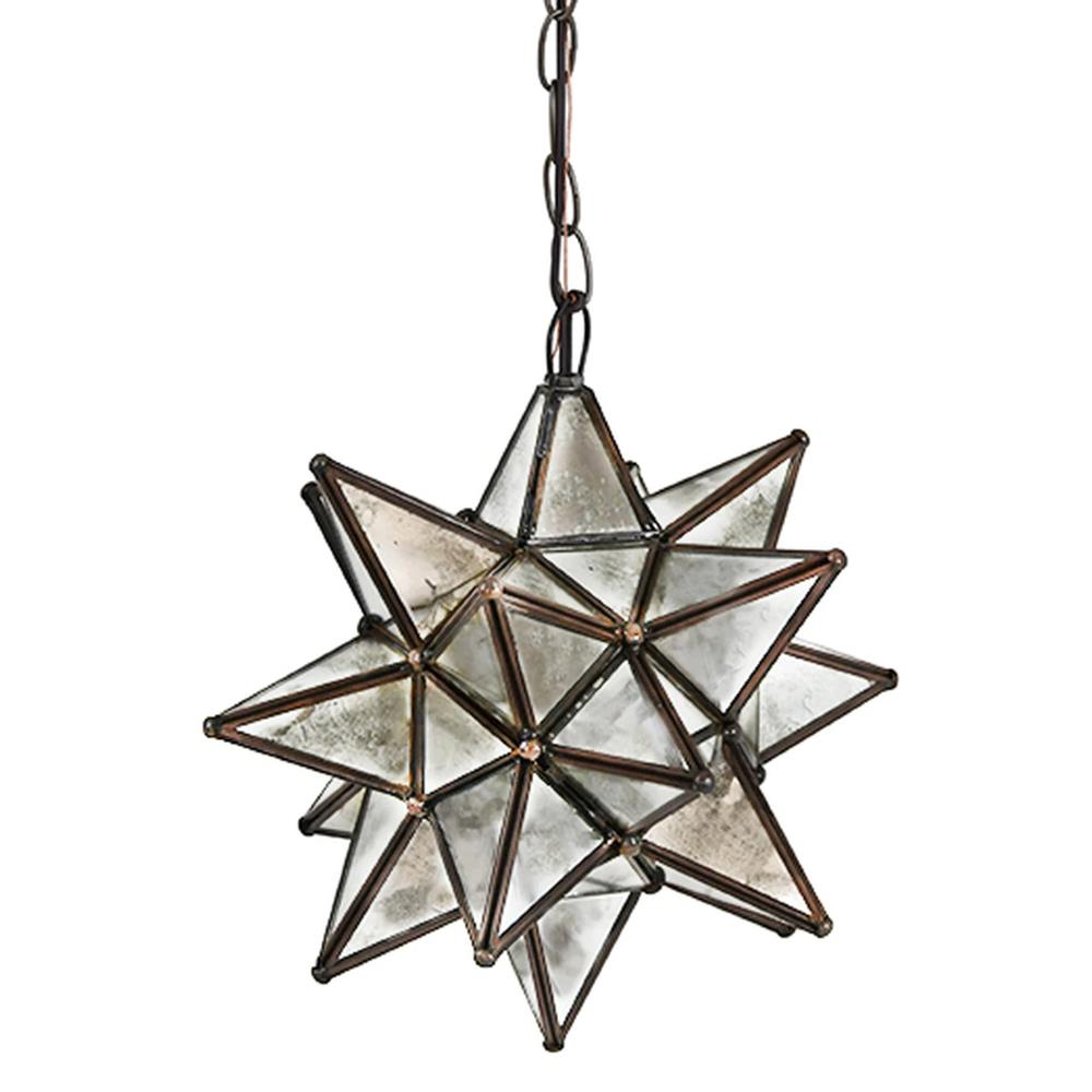 Polaris Hollywood Regency Star Antique Mirror Glass Pendant - 12 Inch