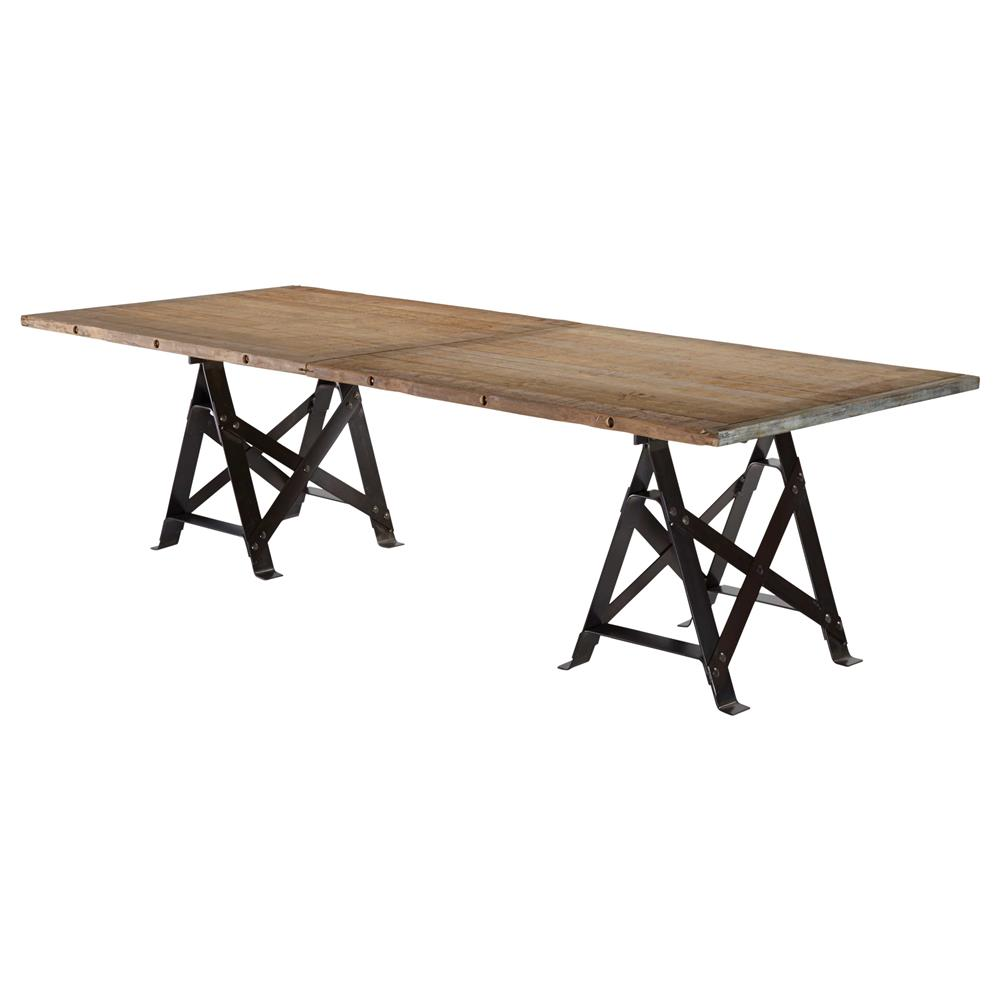 Frinier Industrial Loft Iron Reclaimed Wood Large Dining Table 107