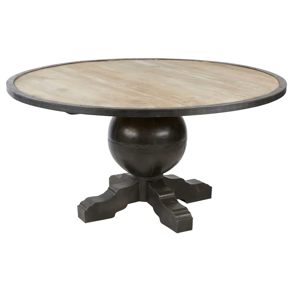 enzo industrial loft pine metal round dining table kathy kuo home. Black Bedroom Furniture Sets. Home Design Ideas