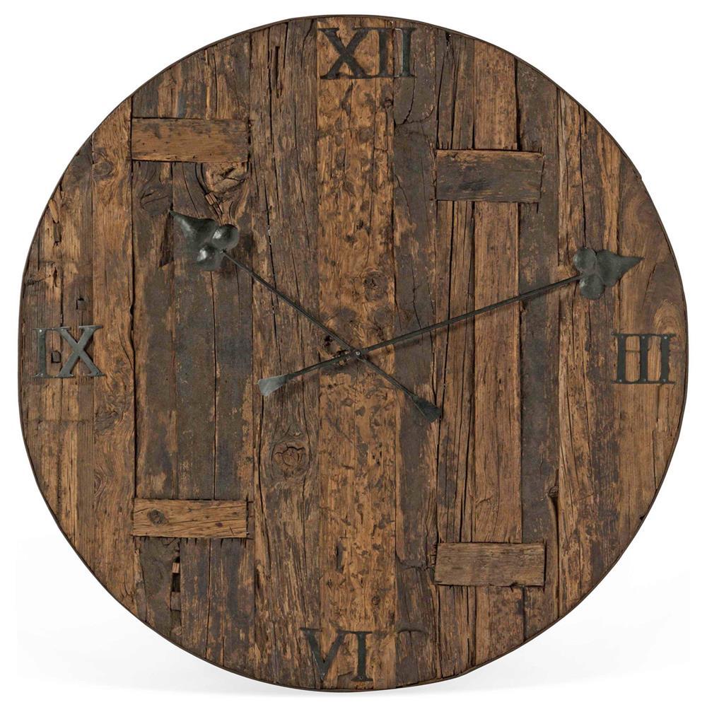 Milton Rustic Lodge Reclaimed Railroad Ties Iron Clock Face