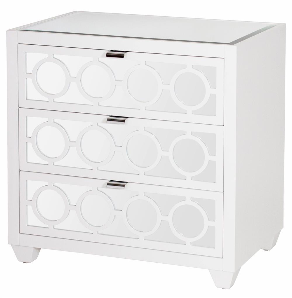 Malta Global Bazaar White Lacquer Mirror Nightstand Dresser