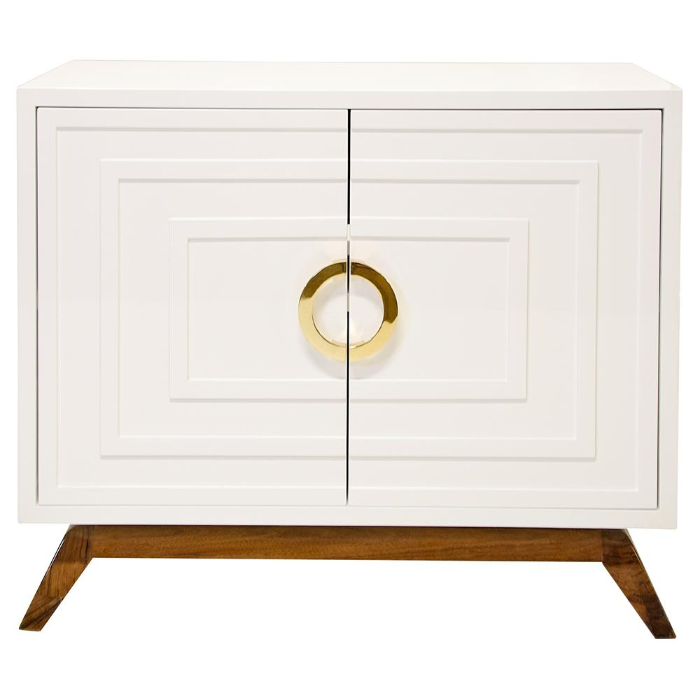 Harrison Hollywood Regency White Lacquer Brass Media Cabinet
