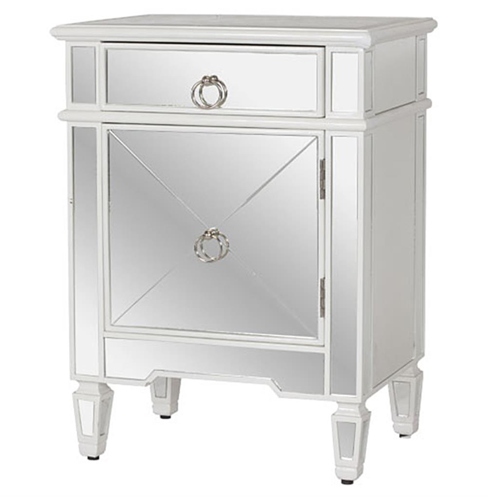 Sloane hollywood regency white lacquer mirror nightstand for Mirror nightstand