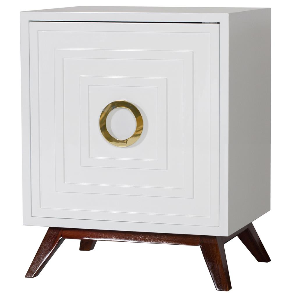 Harrison Hollywood Regency White Lacquer Br Nightstand Kathy Kuo Home