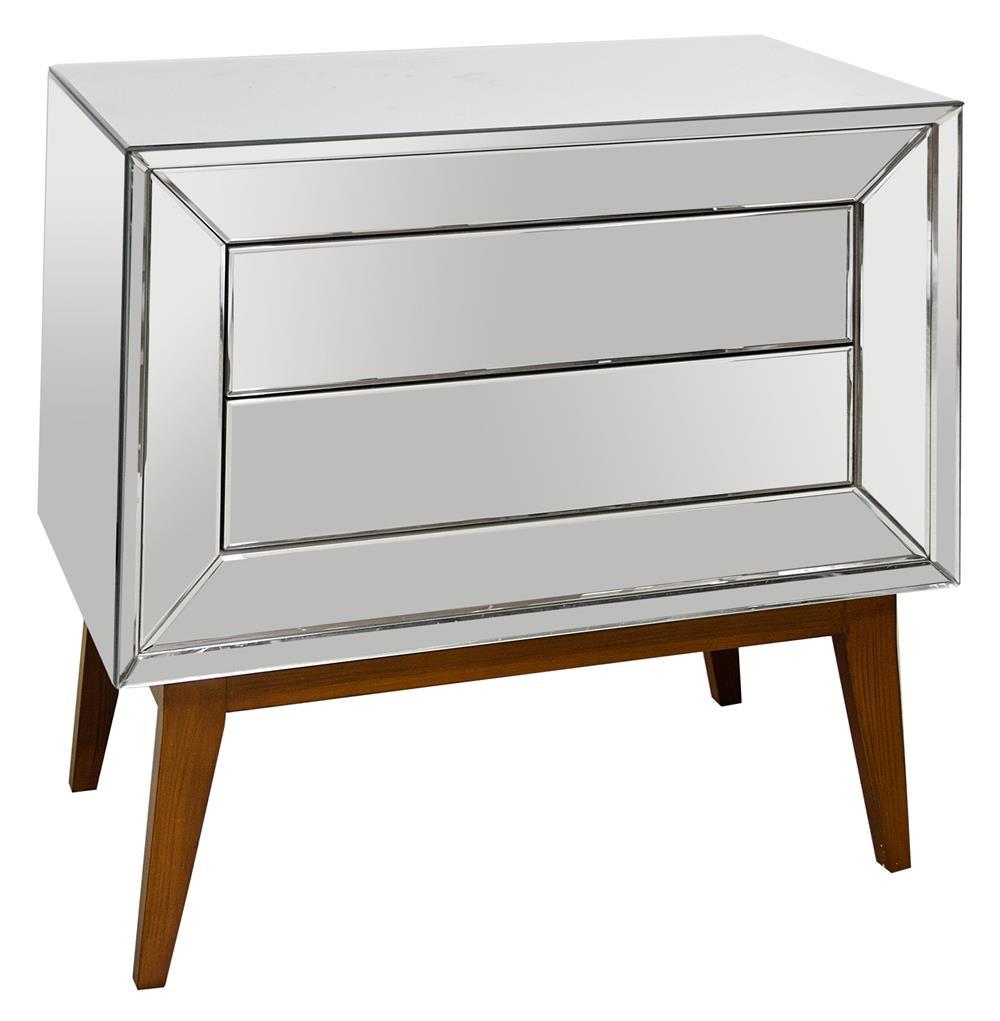 Vivianne hollywood regency mirror wood nightstand chest for Mirror nightstand