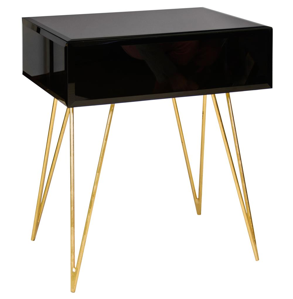 8088 Biscayne Hollywood Regency Black Glass Nightstand Side Table