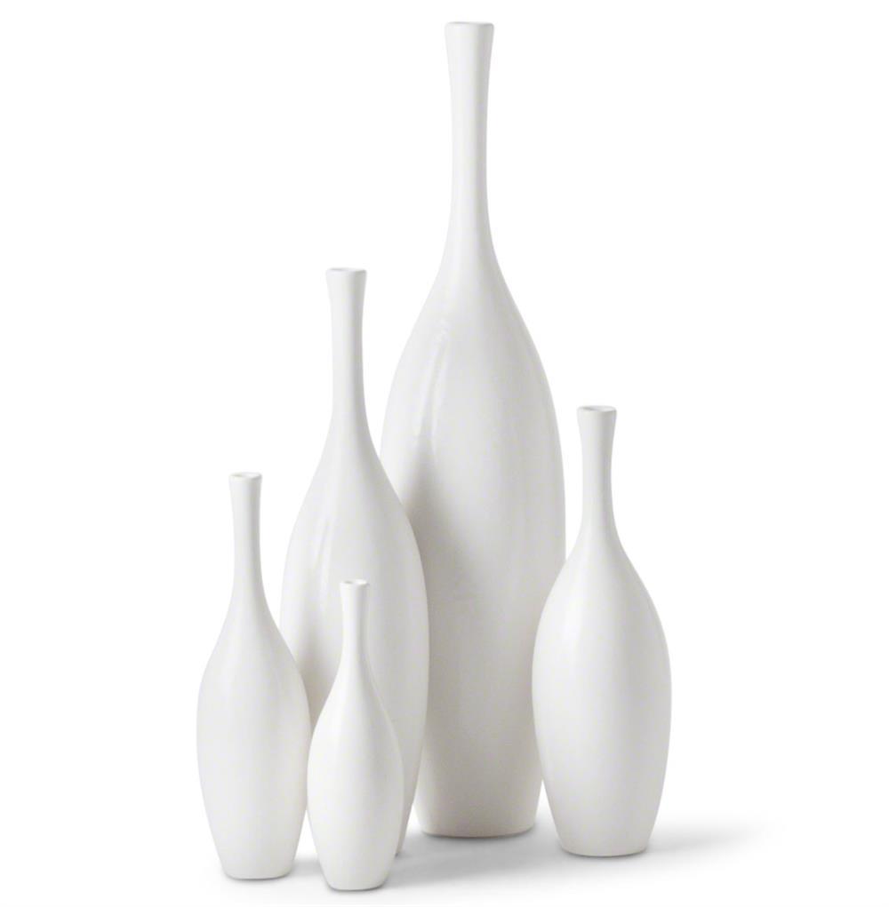 Bliss Modern Tulip Set Of White Ceramic Vases 5 Kathy Kuo Home