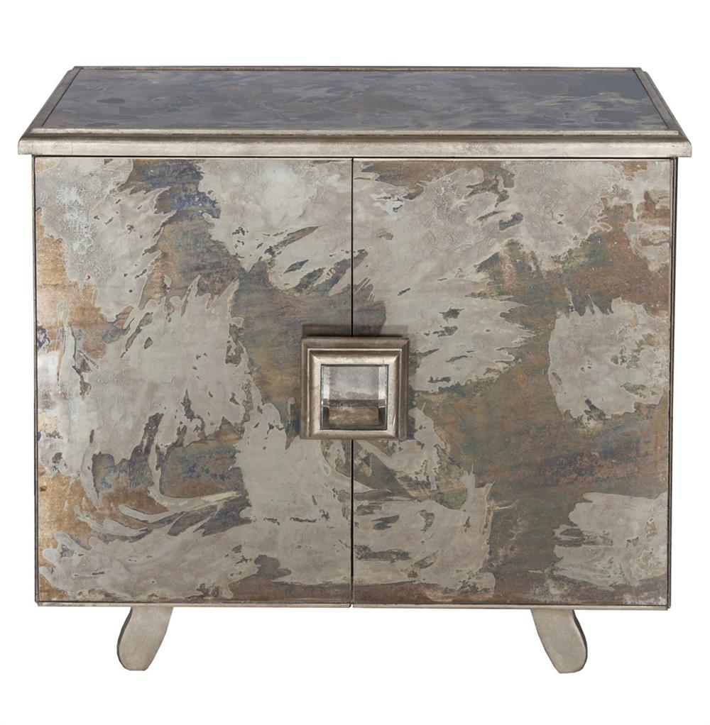 Chantal Hollywood Regency Antique Silver Mirror Bar Cabinet Kathy Kuo Home