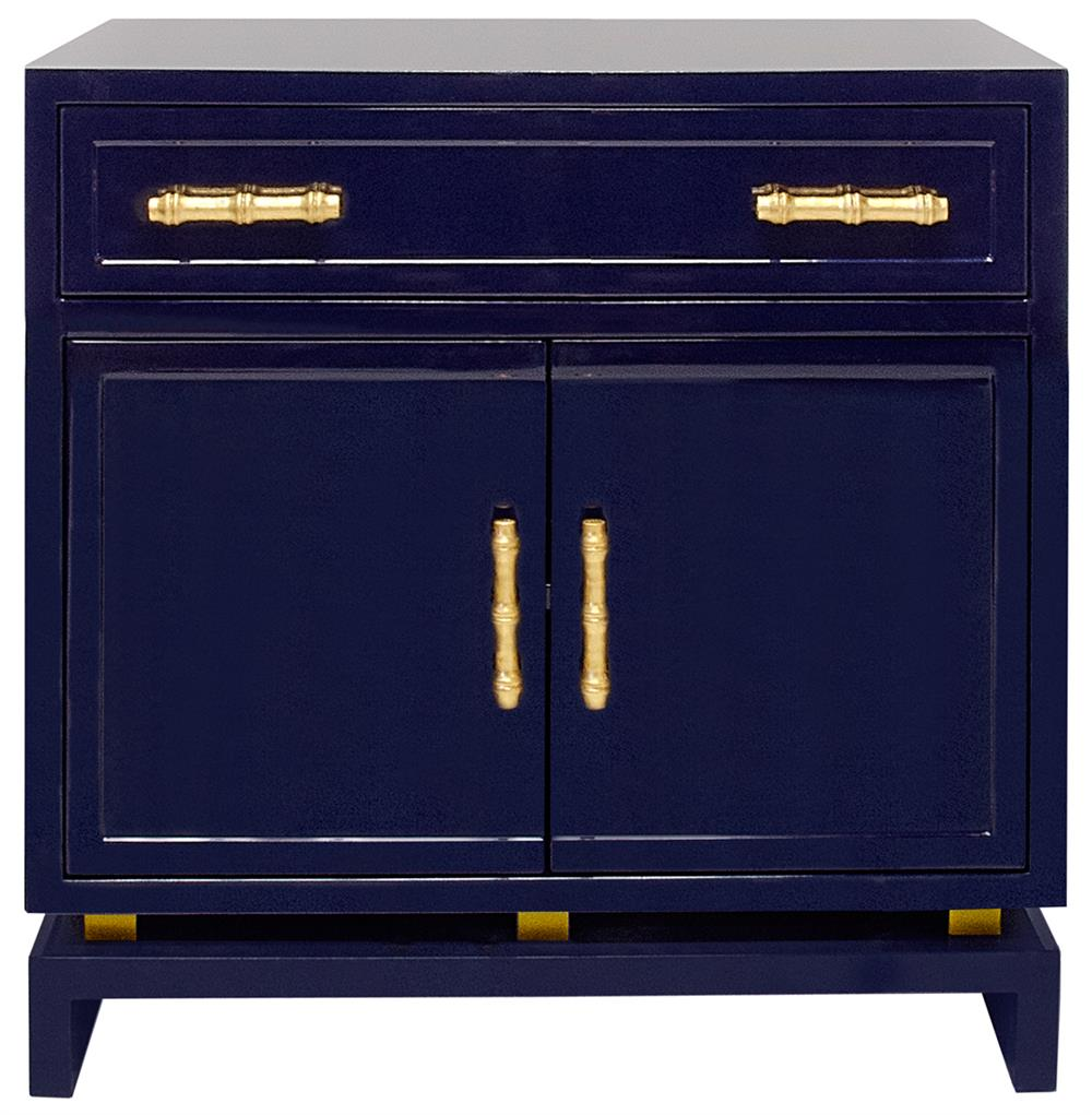 Tracey Hollywood Regency Navy Blue Lacquer Nightstand Cabinet Kathy Kuo Home