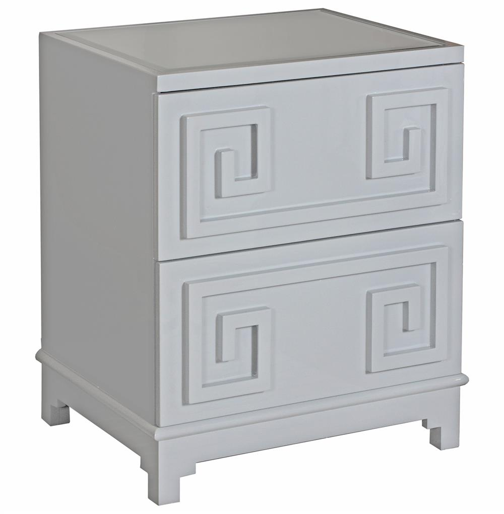 Lucio hollywood regency greek grey lacquer mirror nightstand for Mirror nightstand