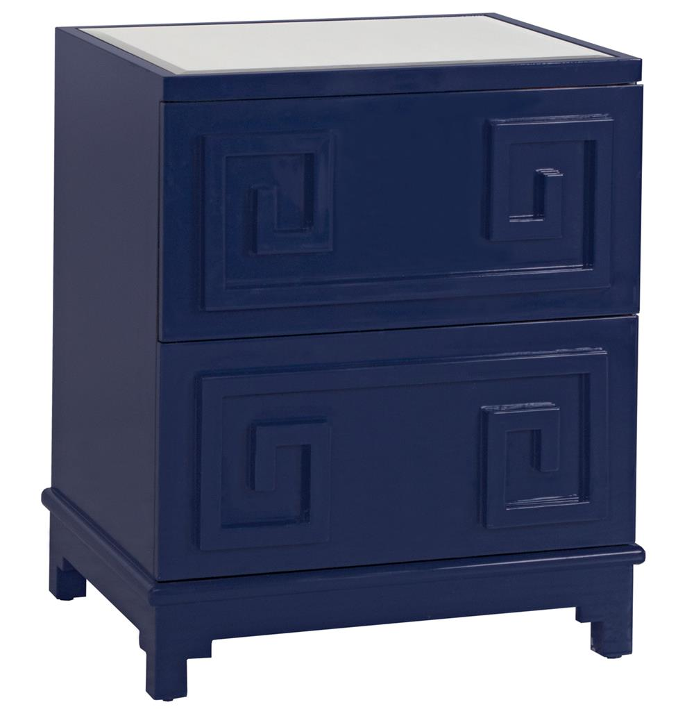 Lucio hollywood regency greek navy lacquer mirror nightstand for Mirror nightstand