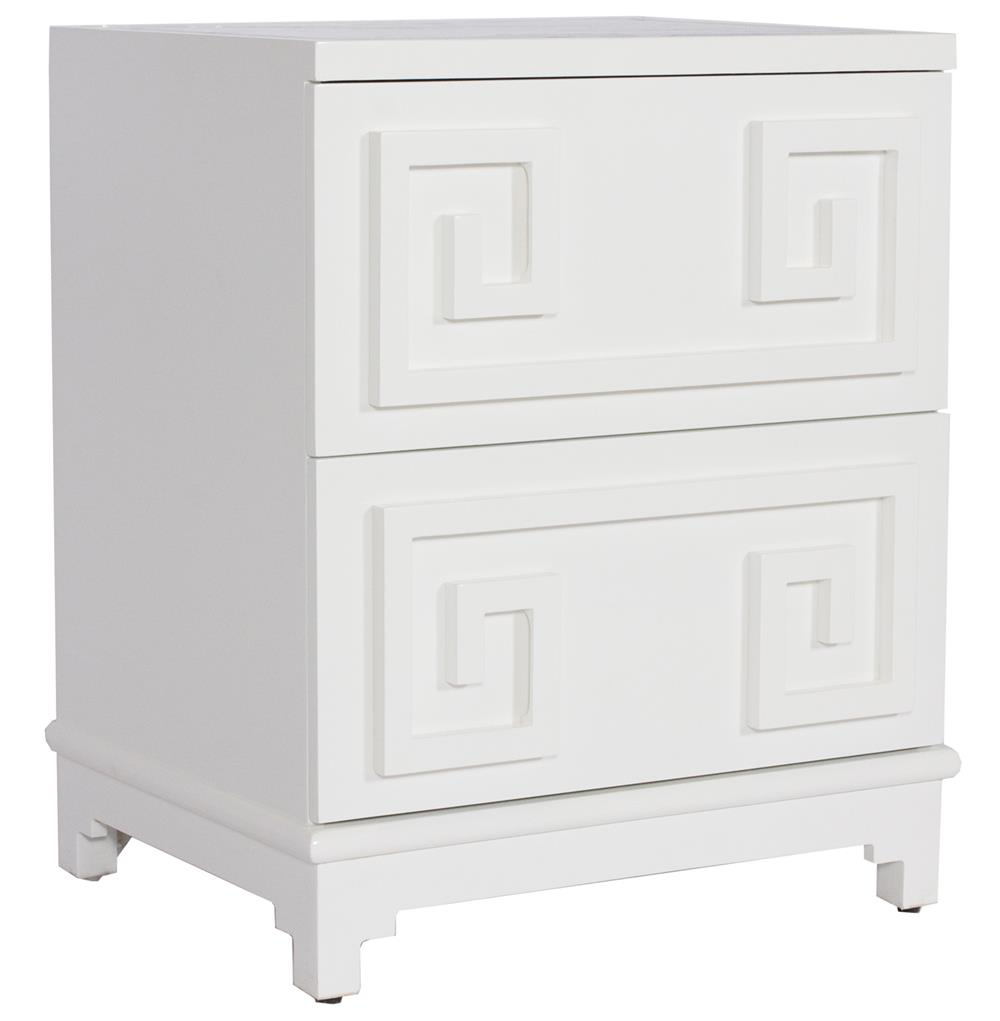 Lucio hollywood regency greek white lacquer mirror nightstand for Mirror nightstand