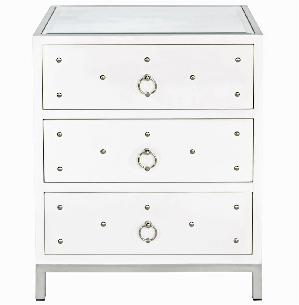 Harley Hollywood Regency Studded White Lacquer Nightstand | Kathy Kuo Home