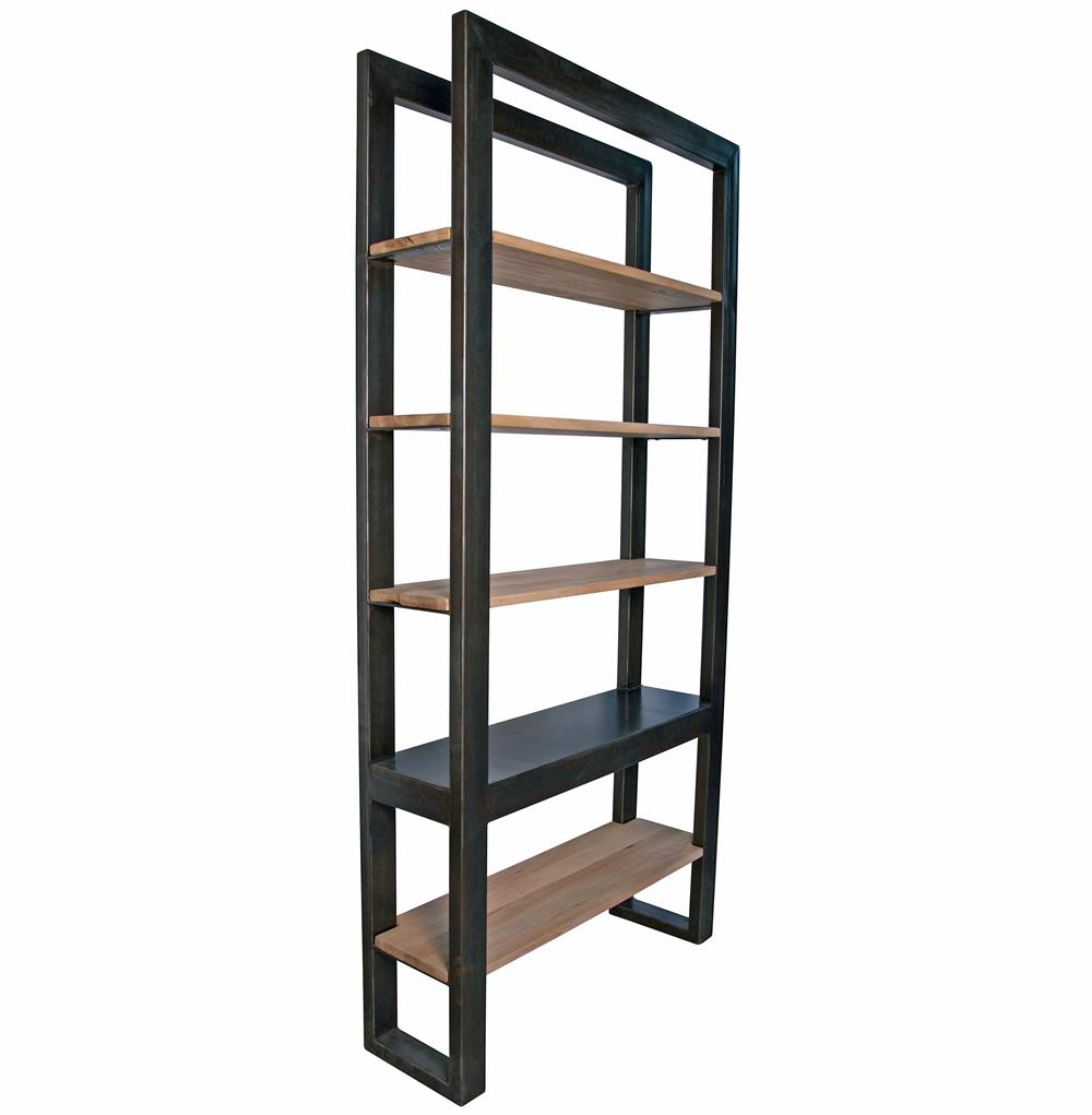 Millerton Metal Distressed Wood Industrial Loft Bookcase  Kathy Kuo ...