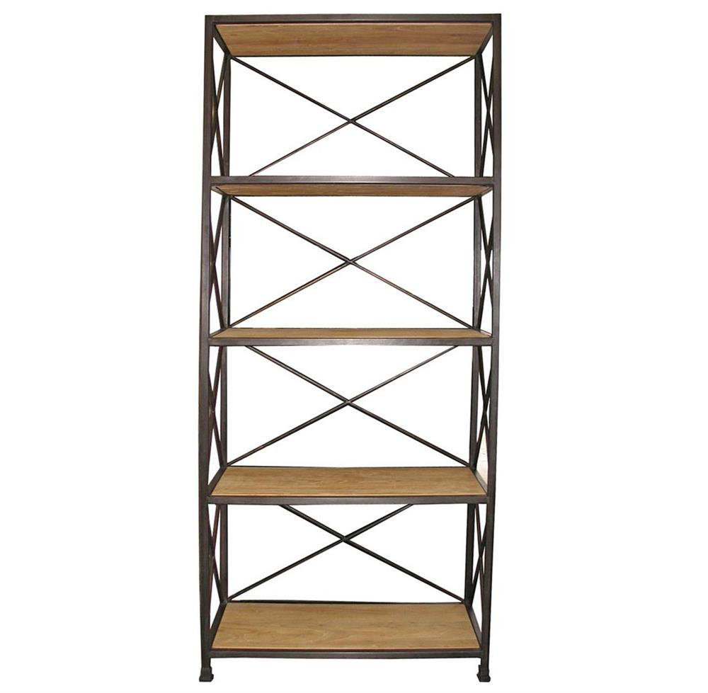 Stockport Metal Wood Industrial Rustic Open Bookcase | Kathy Kuo Home