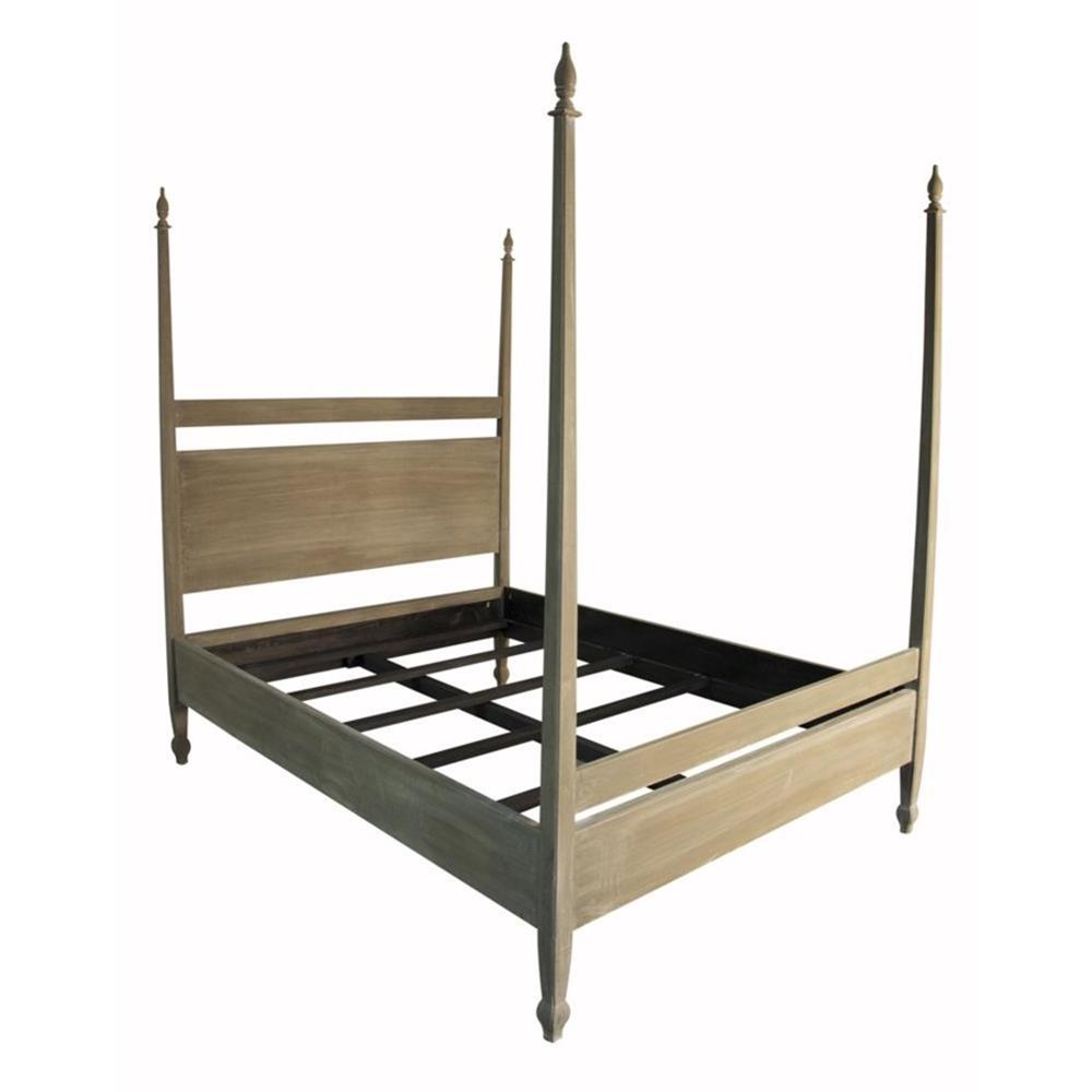 Sandro Weathered Wood Coastal Beach Queen 4 Poster Bed