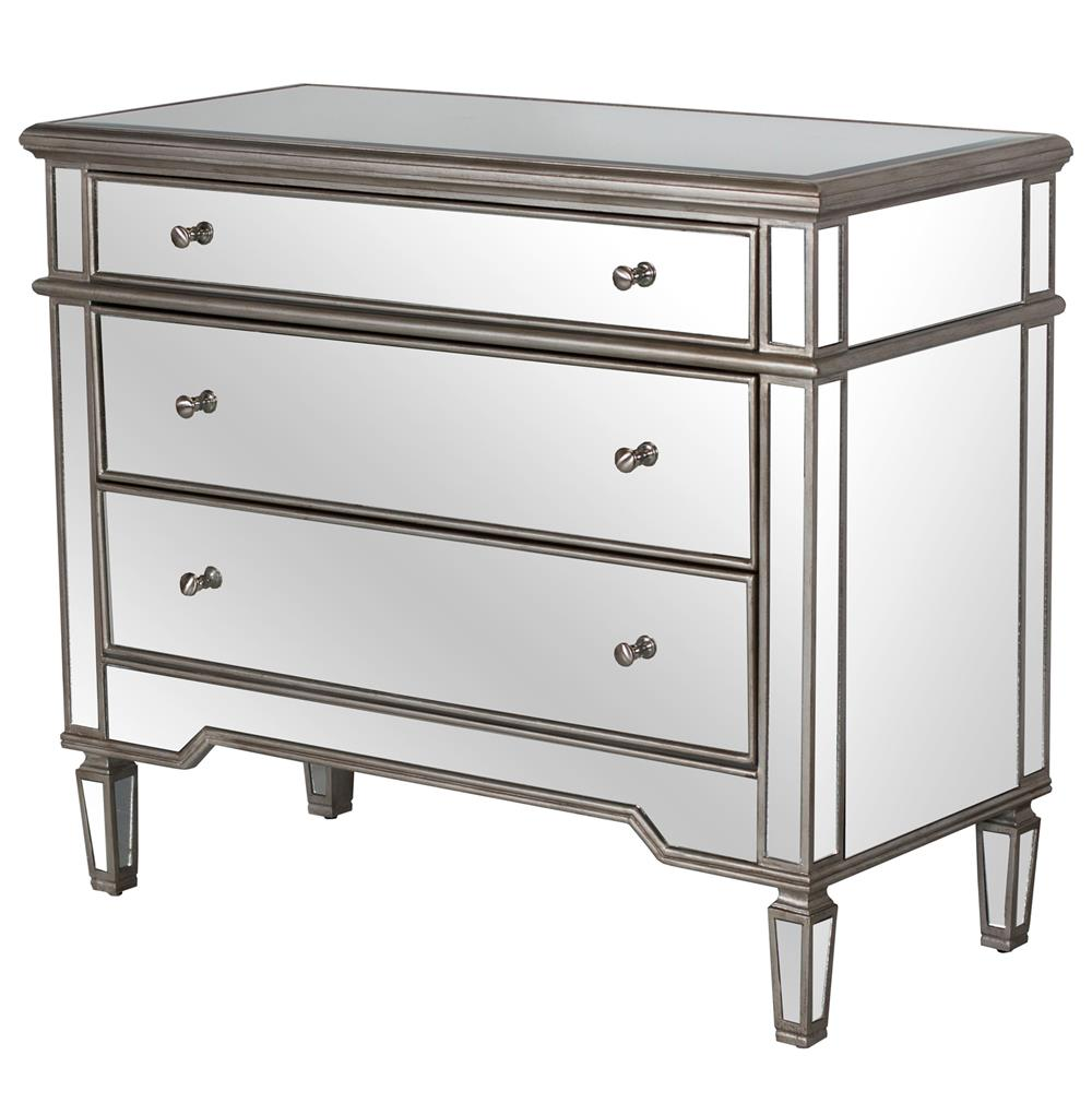 Harlowe Hollywood Regency Silver Pewter Wood Mirrored Dresser Kathy Kuo Home